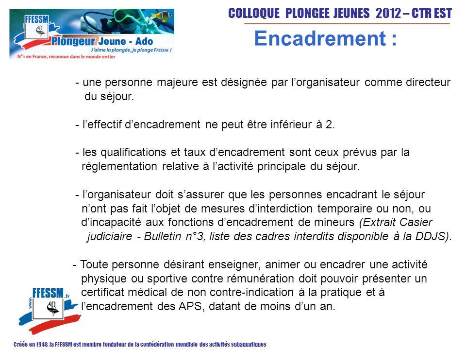 COLLOQUE PLONGEE JEUNES 2012 – CTR EST Créée en 1948, la FFESSM est membre fondateur de la confédération mondiale des activités subaquatiques Encadrem