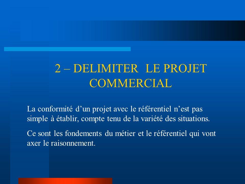2 – DELIMITER LE PROJET COMMERCIAL La conformité dun projet avec le référentiel nest pas simple à établir, compte tenu de la variété des situations. C