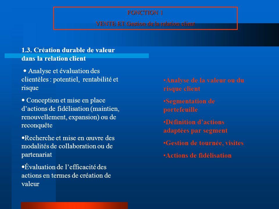 FONCTION 1 VENTE ET Gestion de la relation client 1.3. Création durable de valeur dans la relation client Analyse et évaluation des clientèles : poten