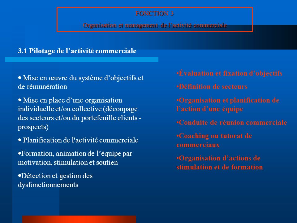 FONCTION 3 Organisation et management de lactivité commerciale 3.1 Pilotage de lactivité commerciale Mise en œuvre du système dobjectifs et de rémunér
