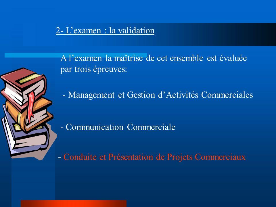 2- Lexamen : la validation A lexamen la maîtrise de cet ensemble est évaluée par trois épreuves: - Management et Gestion dActivités Commerciales - Com