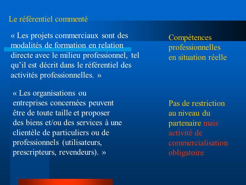 Le référentiel commenté « Les projets commerciaux sont des modalités de formation en relation directe avec le milieu professionnel, tel quil est décri