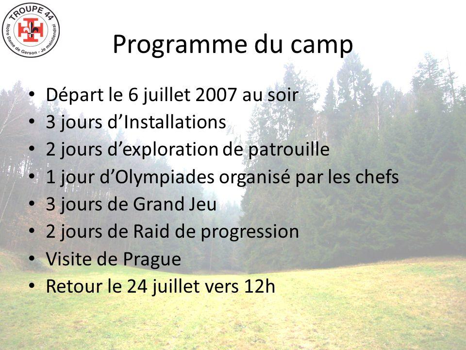 Programme du camp Départ le 6 juillet 2007 au soir 3 jours dInstallations 2 jours dexploration de patrouille 1 jour dOlympiades organisé par les chefs 3 jours de Grand Jeu 2 jours de Raid de progression Visite de Prague Retour le 24 juillet vers 12h