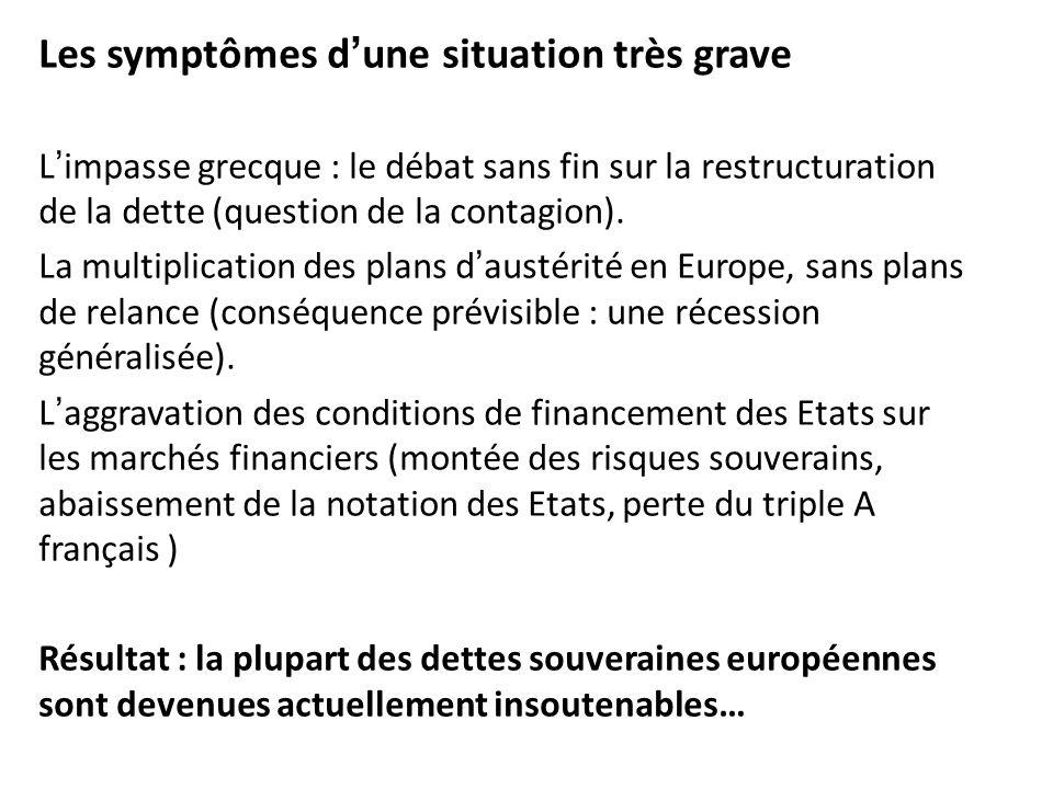 Les symptômes dune situation très grave Limpasse grecque : le débat sans fin sur la restructuration de la dette (question de la contagion). La multipl