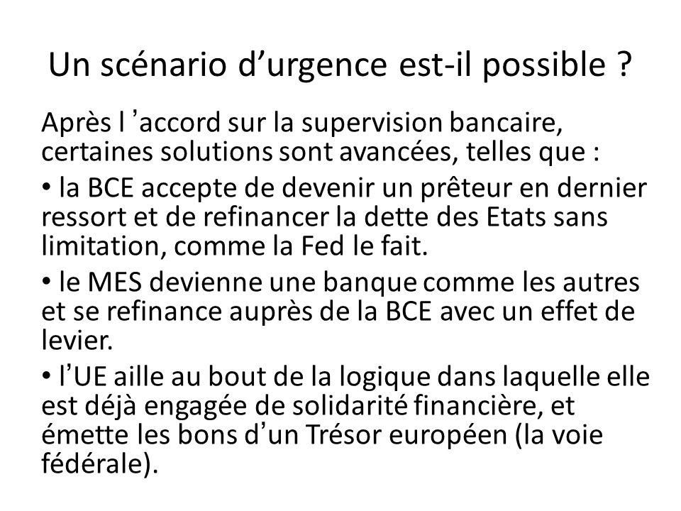 Un scénario durgence est-il possible ? Après l accord sur la supervision bancaire, certaines solutions sont avancées, telles que : la BCE accepte de d