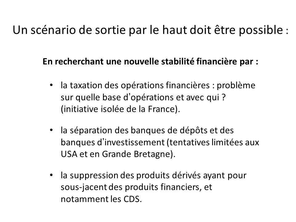 Un scénario de sortie par le haut doit être possible : En recherchant une nouvelle stabilité financière par : la taxation des opérations financières :
