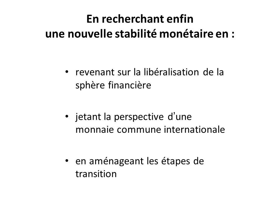 En recherchant enfin une nouvelle stabilité monétaire en : revenant sur la libéralisation de la sphère financière jetant la perspective dune monnaie c