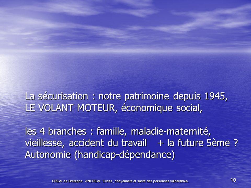 10 La sécurisation : notre patrimoine depuis 1945, LE VOLANT MOTEUR, économique social, les 4 branches : famille, maladie-maternité, vieillesse, accident du travail + la future 5ème .