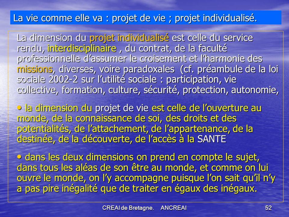 CREAI de Bretagne.ANCREAI52 La vie comme elle va : projet de vie ; projet individualisé.