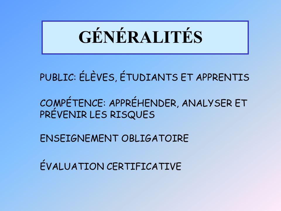 GÉNÉRALITÉS PUBLIC: ÉLÈVES, ÉTUDIANTS ET APPRENTIS COMPÉTENCE: APPRÉHENDER, ANALYSER ET PRÉVENIR LES RISQUES ENSEIGNEMENT OBLIGATOIRE ÉVALUATION CERTIFICATIVE