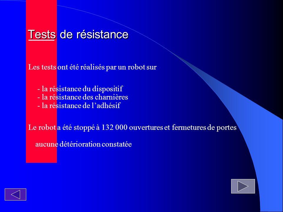 Tests de résistance Tests de résistance Les tests ont été réalisés par un robot sur - la résistance du dispositif - la résistance des charnières - la résistance de ladhésif Le robot a été stoppé à 132 000 ouvertures et fermetures de portes aucune détérioration constatée