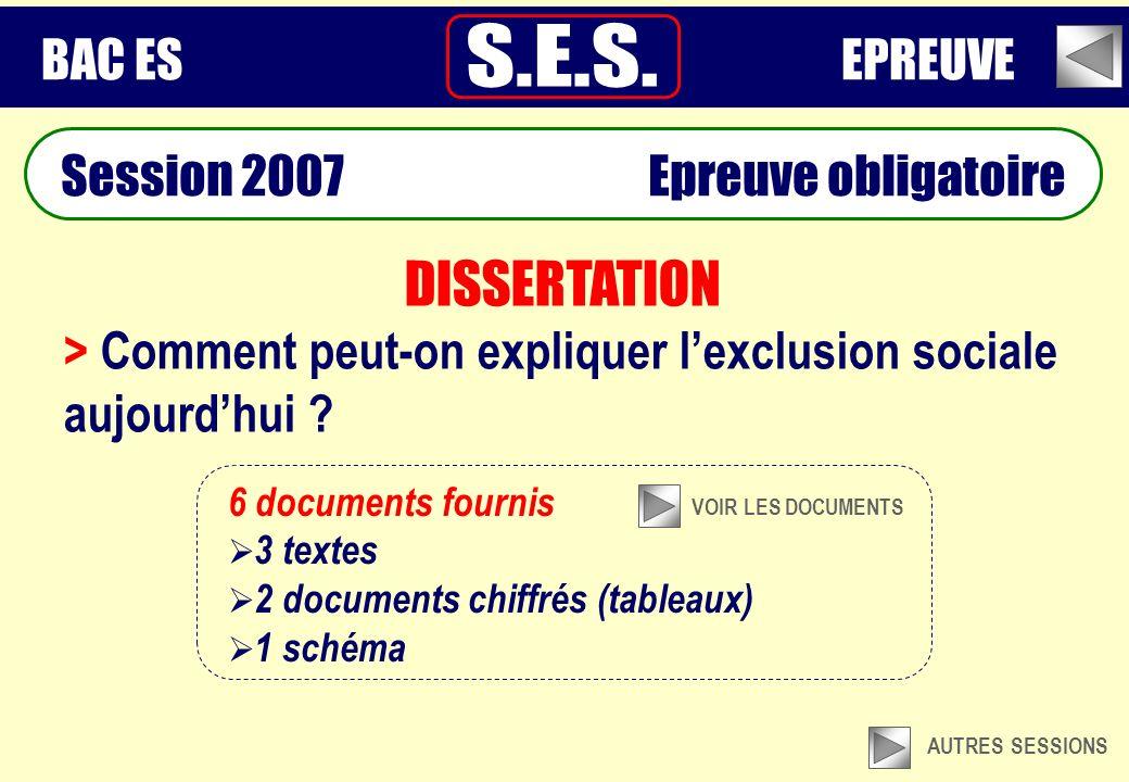 Session 2007 Epreuve obligatoire DISSERTATION > Comment peut-on expliquer lexclusion sociale aujourdhui .