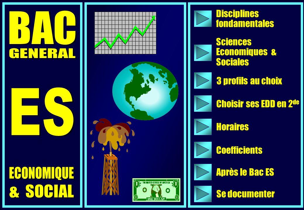 Disciplines fondamentales 3 profils au choix Horaires Coefficients Après le Bac ES Choisir ses EDD en 2 de Sciences Economiques & Sociales Se documenter