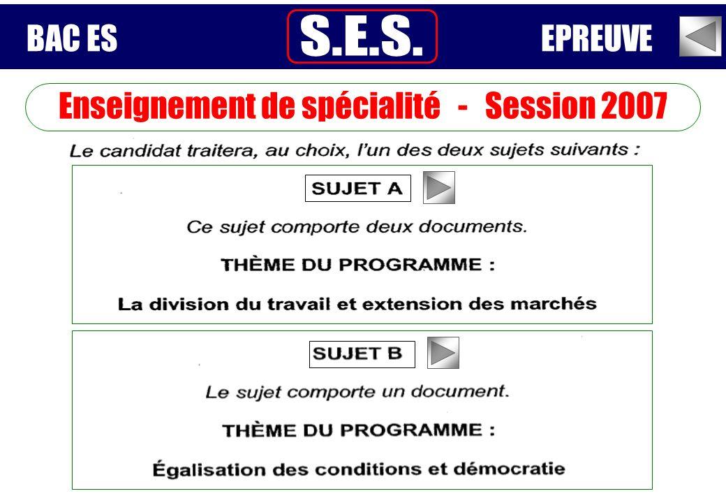 Enseignement de spécialité - Session 2007