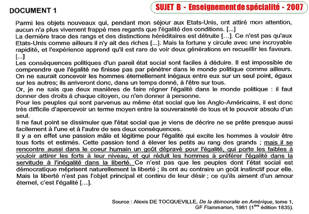 SUJET B - Enseignement de spécialité - 2007