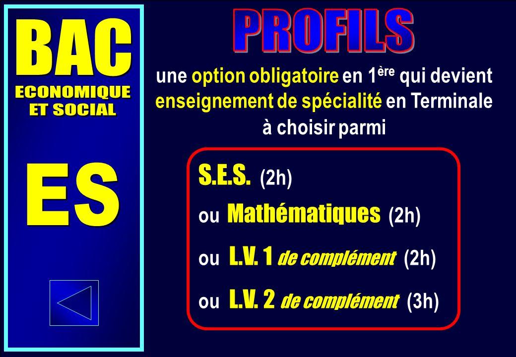 S.E.S. (2h) ou Mathématiques (2h) ou L.V. 1 de complément (2h) ou L.V.