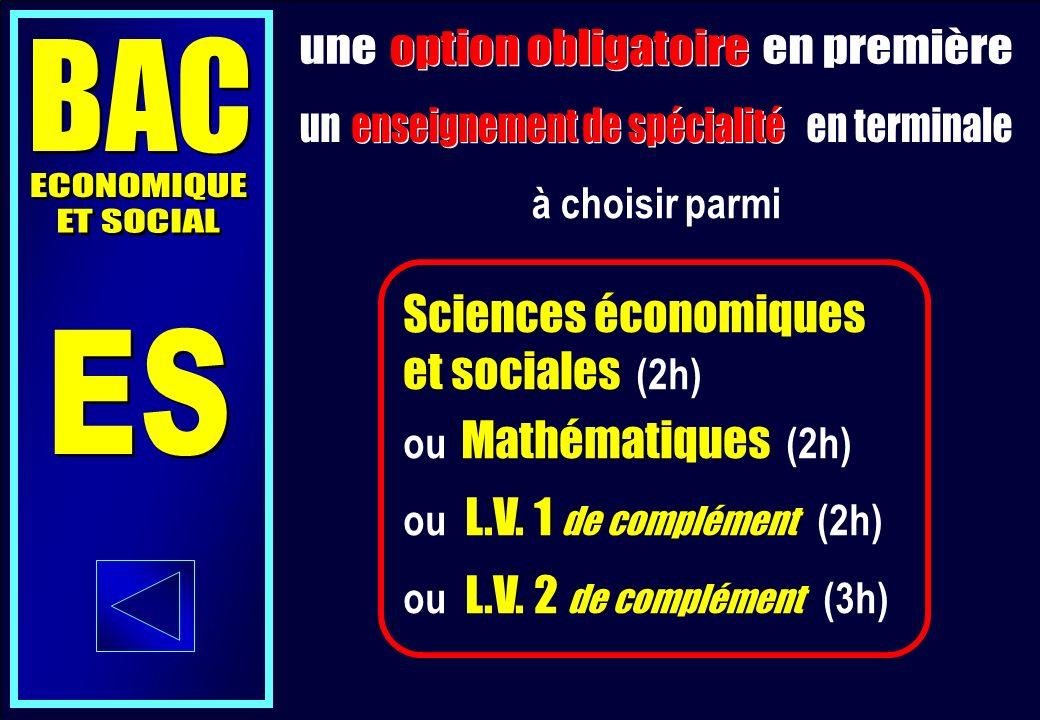 Sciences économiques et sociales (2h) ou Mathématiques (2h) ou L.V.