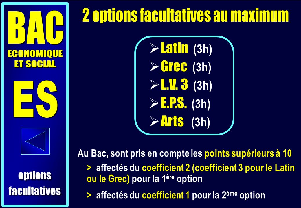 options facultatives options facultatives Latin (3h) Grec (3h) L.V.