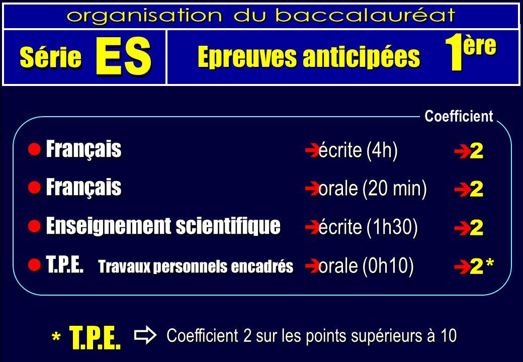 * T.P.E. Coefficient 2 sur les points supérieurs à 10 Français Enseignement scientifique T.P.E.