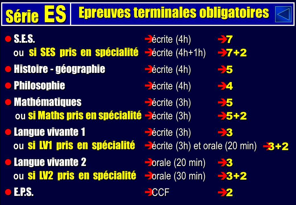 Epreuves terminales obligatoires S.E.S.