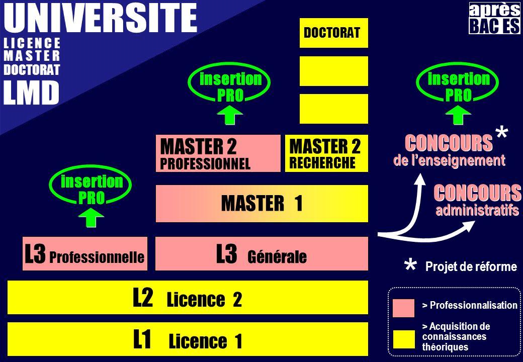 L1 Licence 1 L2 Licence 2 L3 Professionnelle L I C E N C E M A S T E R DOCTORAT L3 Générale MASTER 1 MASTER 2 PROFESSIONNEL MASTER 2 RECHERCHE DOCTORAT CONCOURS de lenseignement CONCOURS de lenseignement CONCOURS administratifs CONCOURS administratifs insertion PRO insertion PRO insertion PRO > Professionnalisation > Acquisition de connaissances théoriques * * Projet de réforme