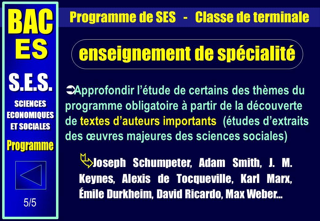 Approfondir létude de certains des thèmes du programme obligatoire à partir de la découverte de textes dauteurs importants (études dextraits des œuvres majeures des sciences sociales) enseignement de spécialité Joseph Schumpeter, Adam Smith, J.