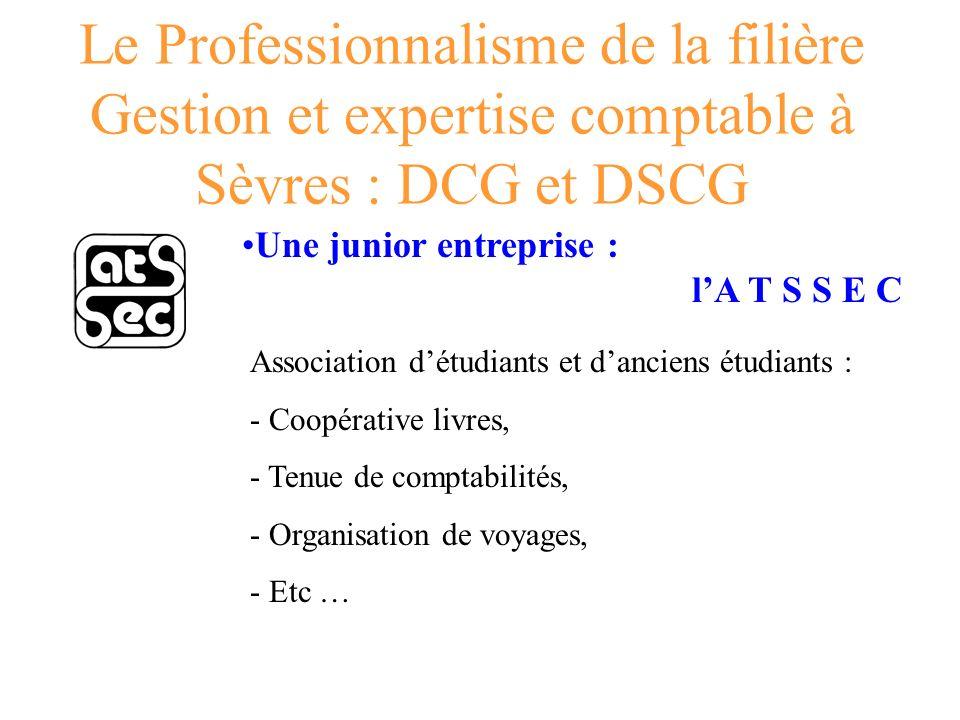 Le Professionnalisme de la filière Gestion et expertise comptable à Sèvres : DCG et DSCG Une junior entreprise : lA T S S E C Association détudiants e