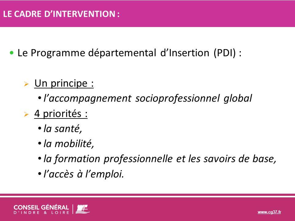 www.cg37.fr Le Programme départemental dInsertion (PDI) : Un principe : laccompagnement socioprofessionnel global 4 priorités : la santé, la mobilité,