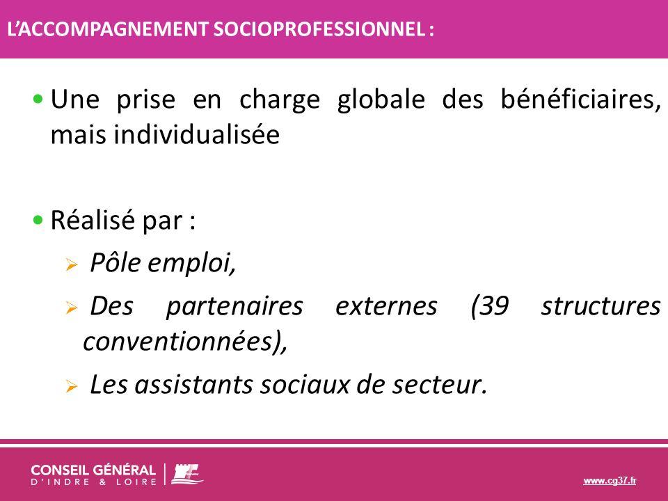 www.cg37.fr Une prise en charge globale des bénéficiaires, mais individualisée Réalisé par : Pôle emploi, Des partenaires externes (39 structures conv