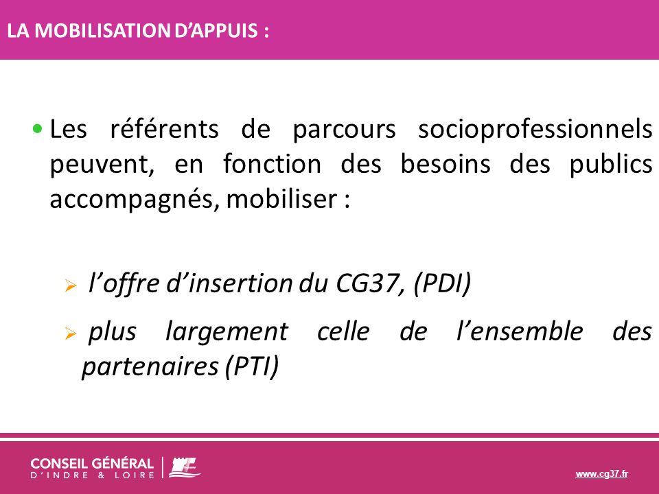 www.cg37.fr Les référents de parcours socioprofessionnels peuvent, en fonction des besoins des publics accompagnés, mobiliser : loffre dinsertion du C