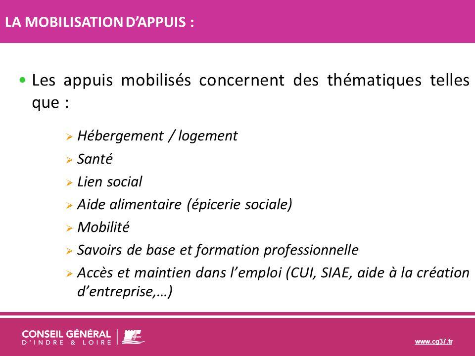 www.cg37.fr Les appuis mobilisés concernent des thématiques telles que : Hébergement / logement Santé Lien social Aide alimentaire (épicerie sociale)