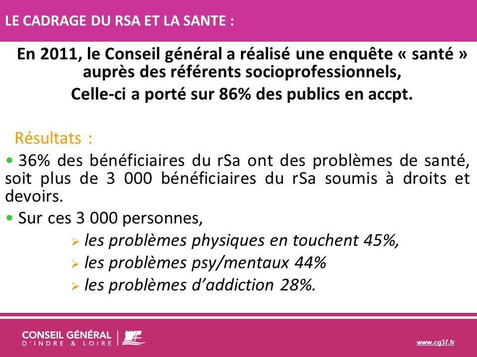 www.cg37.fr En 2011, le Conseil général a réalisé une enquête « santé » auprès des référents socioprofessionnels, Celle-ci a porté sur 86% des publics