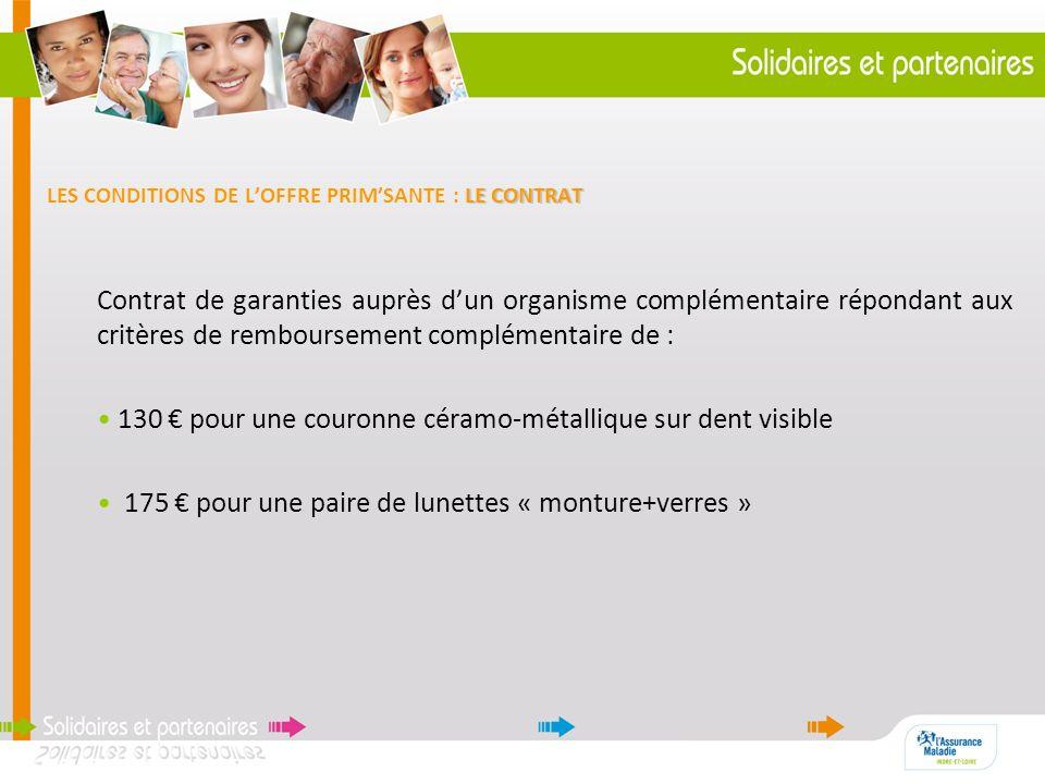 LE CONTRAT LES CONDITIONS DE LOFFRE PRIMSANTE : LE CONTRAT Contrat de garanties auprès dun organisme complémentaire répondant aux critères de rembours