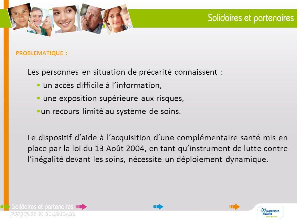 PROBLEMATIQUE : Les personnes en situation de précarité connaissent : un accès difficile à linformation, une exposition supérieure aux risques, un rec