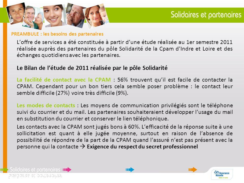 PREAMBULE : les besoins des partenaires Loffre de services a été constituée à partir dune étude réalisée au 1er semestre 2011 réalisée auprès des part
