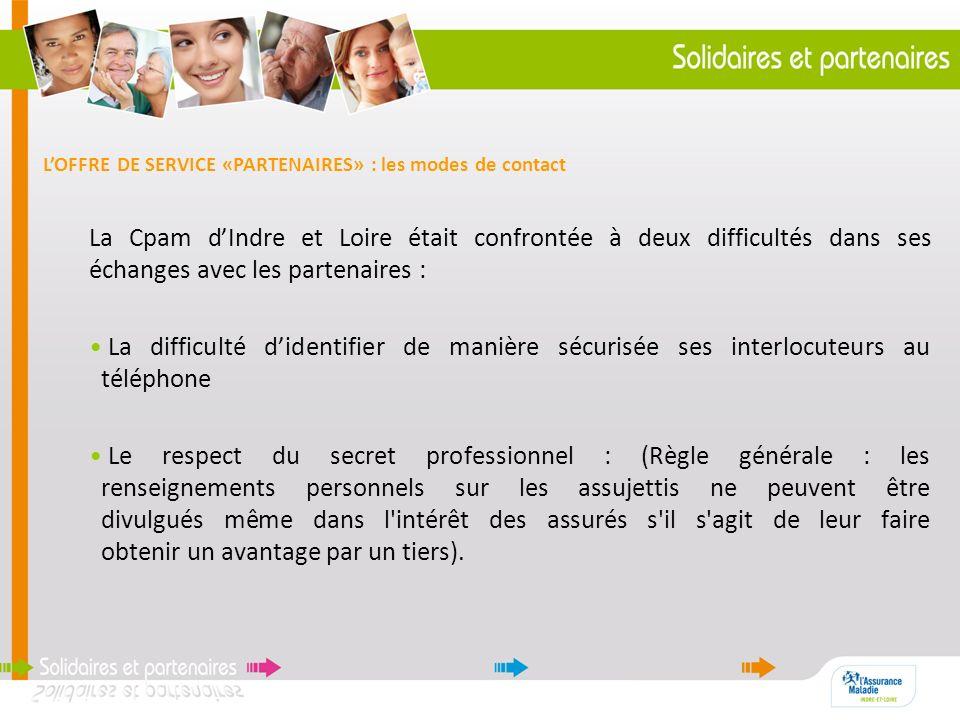 La Cpam dIndre et Loire était confrontée à deux difficultés dans ses échanges avec les partenaires : La difficulté didentifier de manière sécurisée se