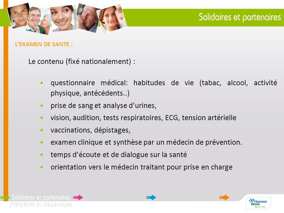 LEXAMEN DE SANTE : Le contenu (fixé nationalement) : questionnaire médical: habitudes de vie (tabac, alcool, activité physique, antécédents..) prise d