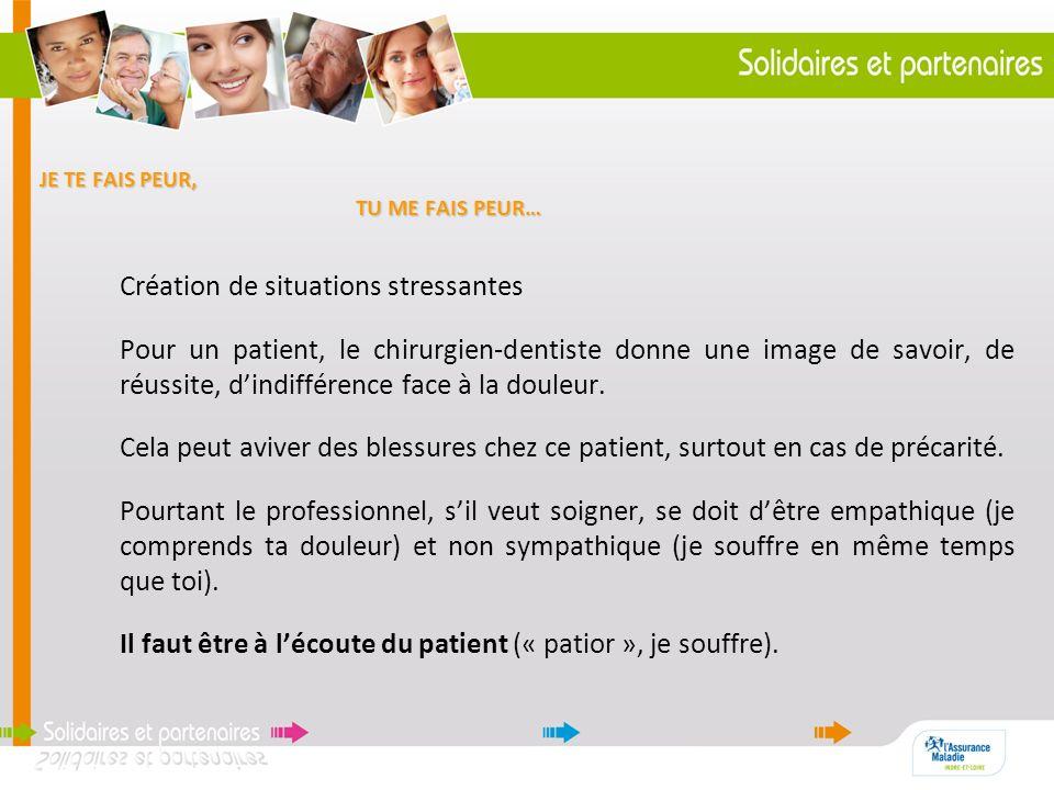 JE TE FAIS PEUR, TU ME FAIS PEUR… Création de situations stressantes Pour un patient, le chirurgien-dentiste donne une image de savoir, de réussite, d