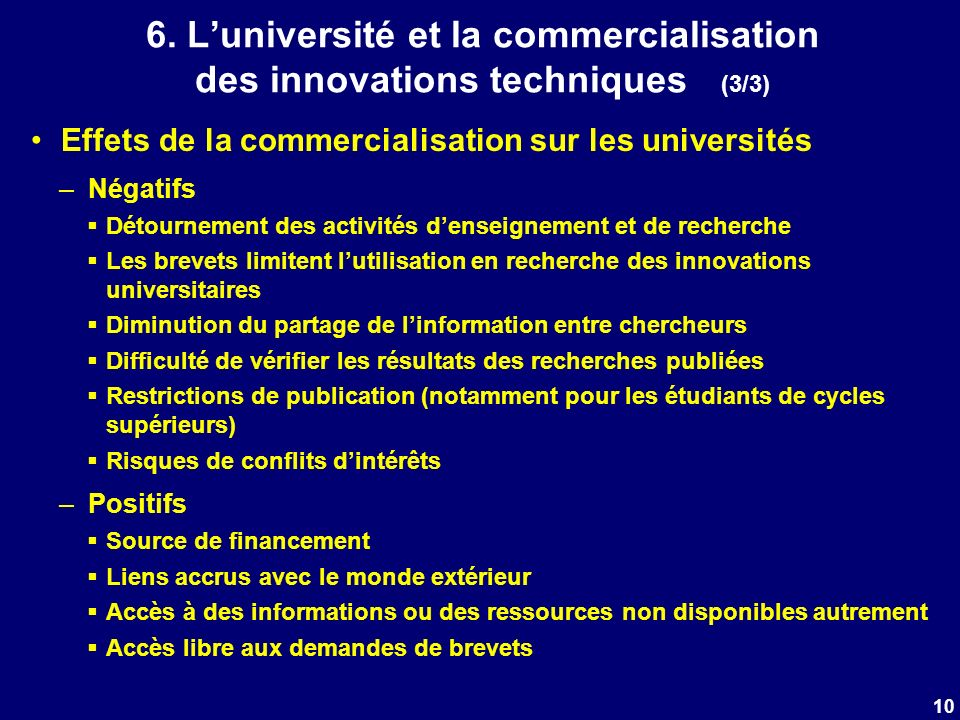6. Luniversité et la commercialisation des innovations techniques (3/3) Effets de la commercialisation sur les universités –Négatifs Détournement des