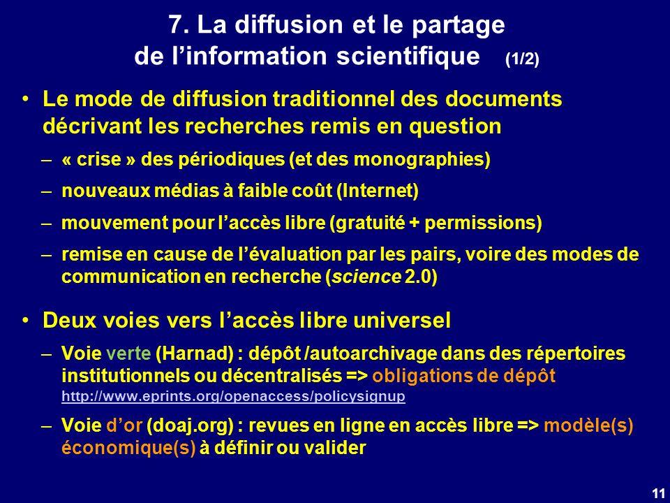 7. La diffusion et le partage de linformation scientifique (1/2) Le mode de diffusion traditionnel des documents décrivant les recherches remis en que