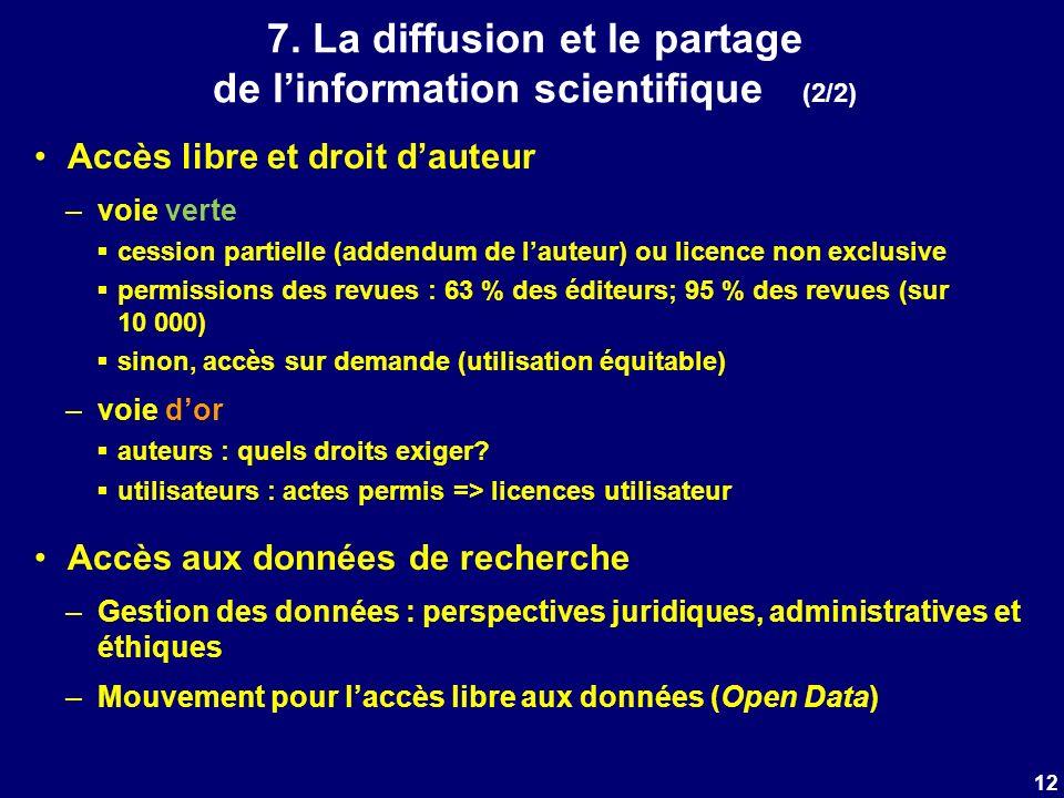 7. La diffusion et le partage de linformation scientifique (2/2) Accès libre et droit dauteur –voie verte cession partielle (addendum de lauteur) ou l