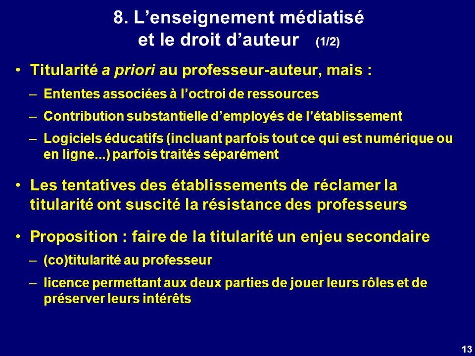 8. Lenseignement médiatisé et le droit dauteur (1/2) Titularité a priori au professeur-auteur, mais : –Ententes associées à loctroi de ressources –Con