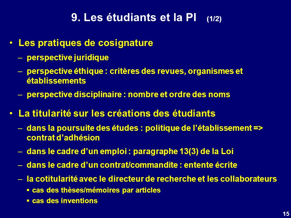 9. Les étudiants et la PI (1/2) Les pratiques de cosignature –perspective juridique –perspective éthique : critères des revues, organismes et établiss