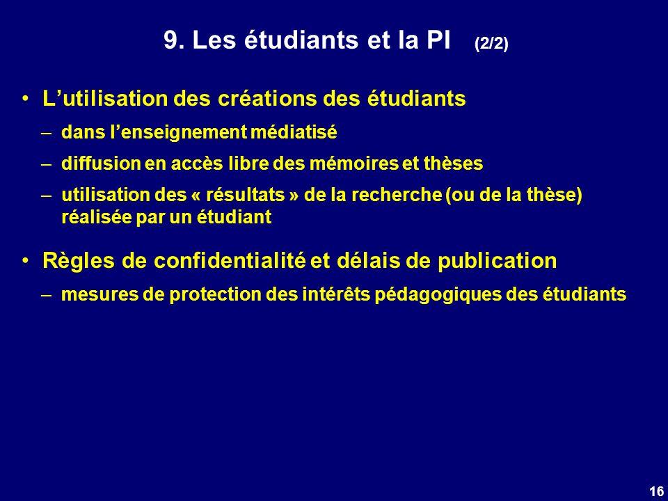 9. Les étudiants et la PI (2/2) Lutilisation des créations des étudiants –dans lenseignement médiatisé –diffusion en accès libre des mémoires et thèse