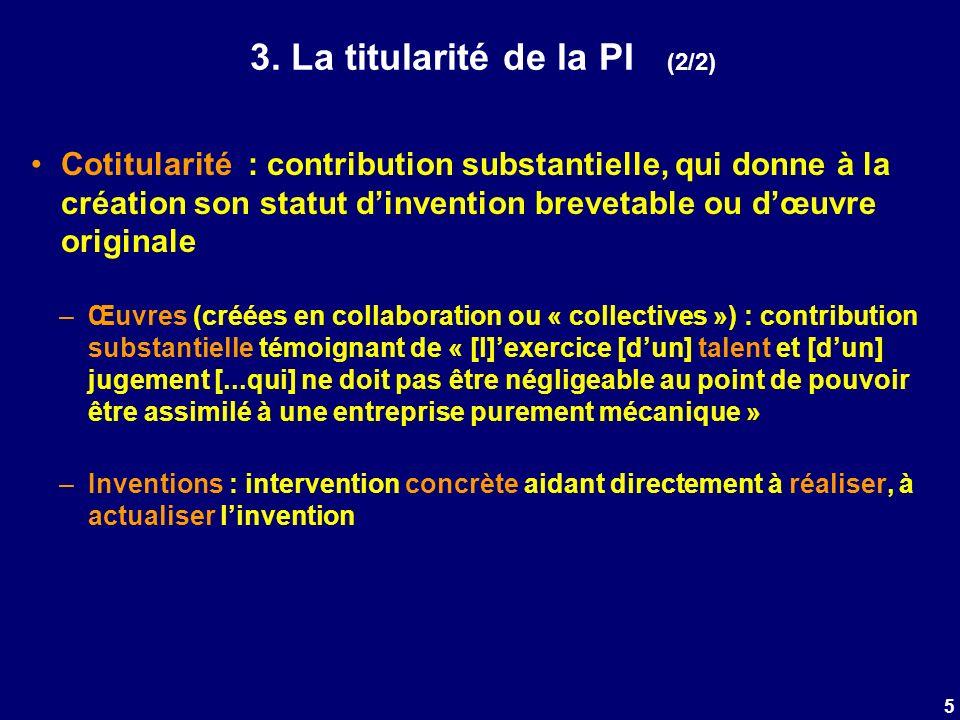 3. La titularité de la PI (2/2) Cotitularité : contribution substantielle, qui donne à la création son statut dinvention brevetable ou dœuvre original