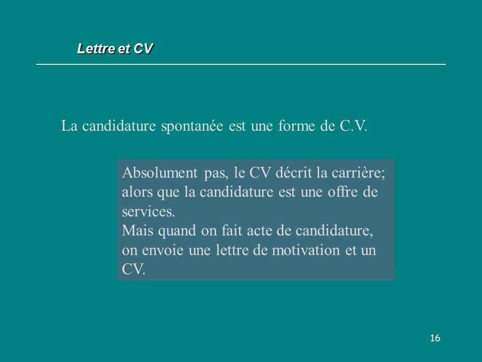 16 La candidature spontanée est une forme de C.V.
