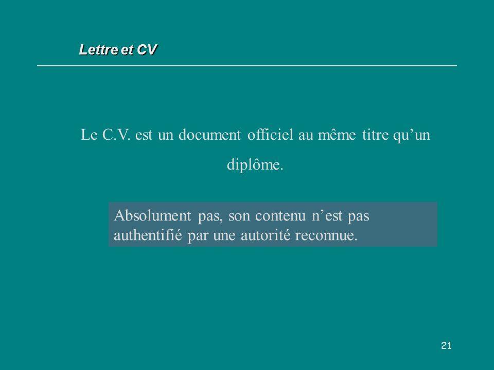21 Le C.V.est un document officiel au même titre quun diplôme.