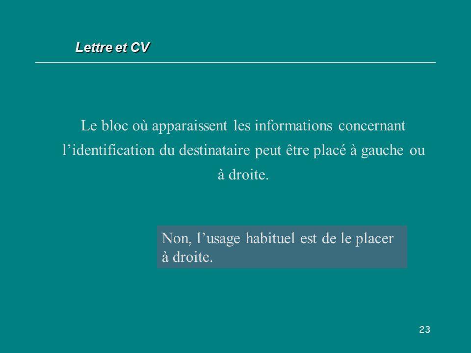 23 Le bloc où apparaissent les informations concernant lidentification du destinataire peut être placé à gauche ou à droite.