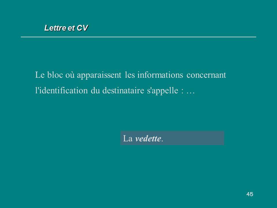 45 Le bloc où apparaissent les informations concernant l identification du destinataire s appelle : … La vedette.