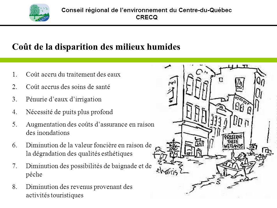 Conseil régional de lenvironnement du Centre-du-Québec CRECQ 1.Coût accru du traitement des eaux 2.Coût accrus des soins de santé 3.Pénurie deaux dirr